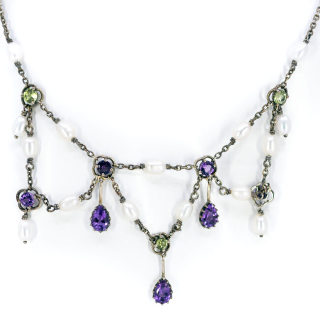 Amethyst, Pearl, Peridot, Silver Necklace 11656-7166 Image1